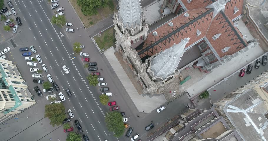 Ukraine. Kiev. June 13, 2017. Church of St. Nicholas. Aerial photography. 4K Video. Building. Religion. Movement of the drone down, the camera is directed below the middle. | Shutterstock HD Video #28569544