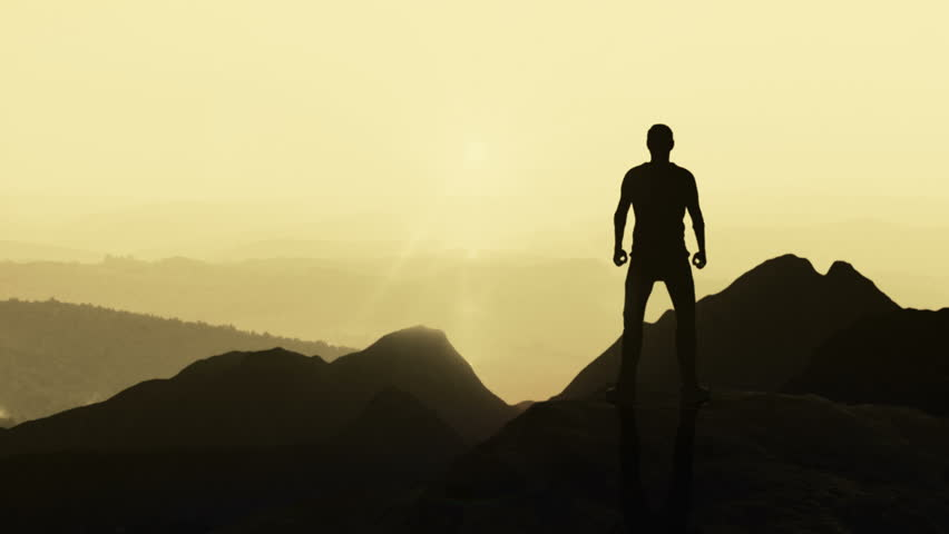 Animated CGI silhouette in a victory pose on the peak of a mountain. 4K animation. | Shutterstock HD Video #28699489