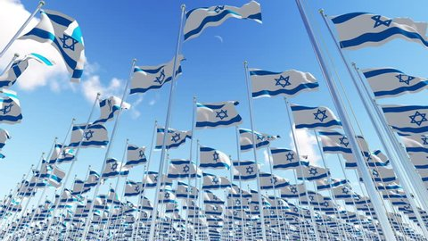 Flags of Israel on flagpoles waving on the wind against blue sky. View from below. Three dimensional rendering 3D animation.