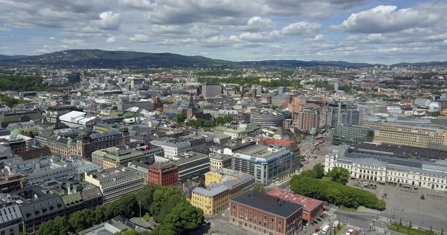 Aerial fly over of Oslo Norway