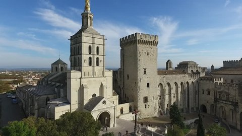 AVIGNON  FRANCE  NOV 2016 - DRONE SHOT -HISTORICAL CATHEDRAL NEAR THE POPE'S PALACE