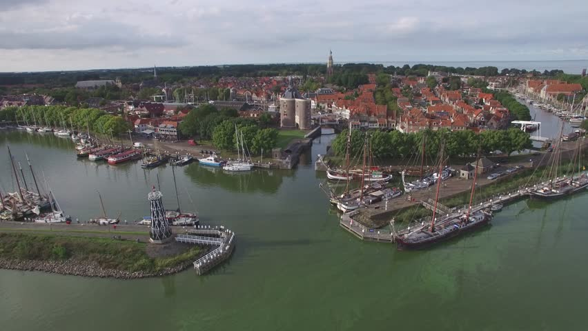 Aerial over harbour and historical Ijselmeer city,Enkhuizen,Netherlands