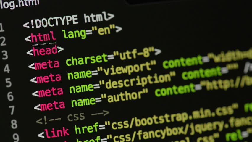 HTML and CSS code developing. Website design code programming on a laptop screen. Web dev work. | Shutterstock HD Video #28805074