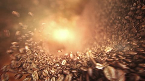 Coffee beans falling wave. High quality super slow motion coffee beans falling