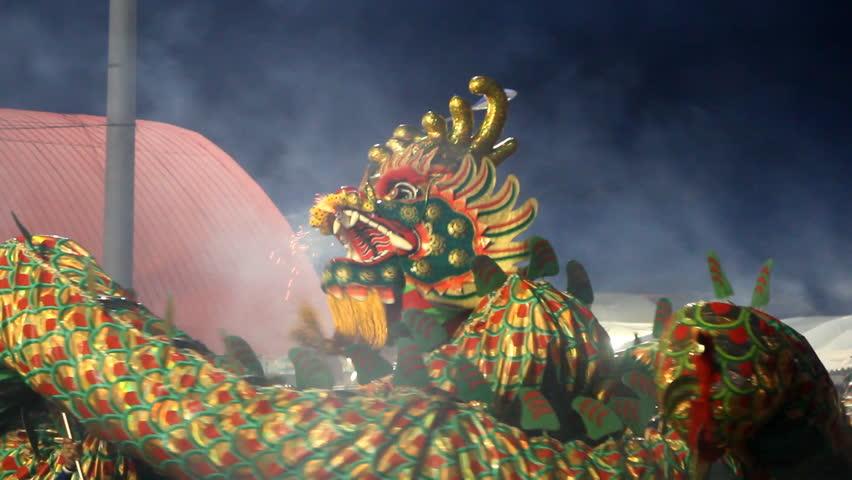 Chinese dragons performing at night