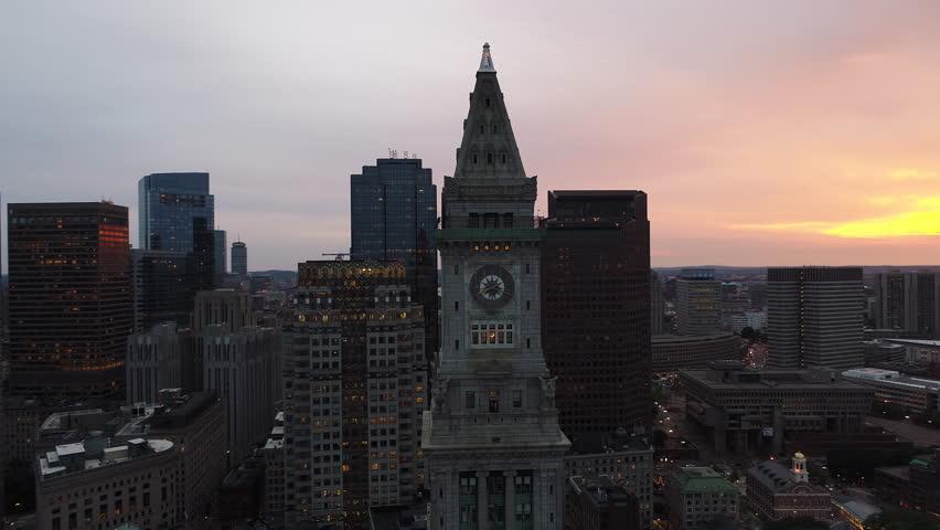 Aerial drone orbit clock tower boston 4k | Shutterstock HD Video #28826884