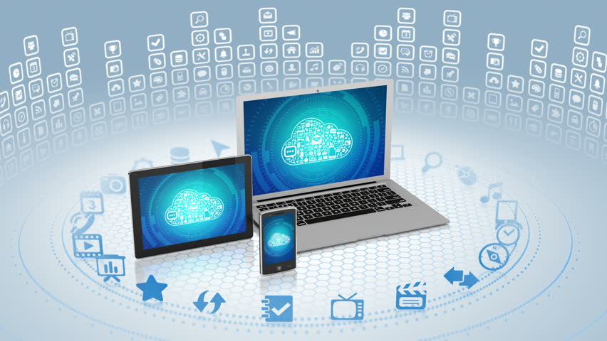 Camera zooms out of laptop screen with cloud computing concept on it