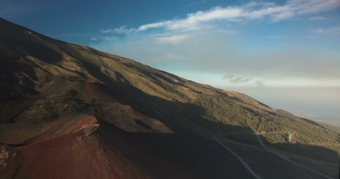 Aerial shot on Mount Etna in Sicily, Italy
