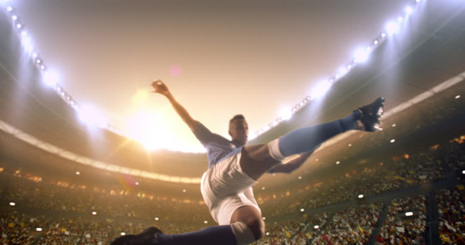 4k footage of a soccer player in dramatic play during a soccer game on a professional outdoor soccer stadium. Player wears unbranded uniform. Stadium and crowd are made in 3D. | Shutterstock HD Video #28878454