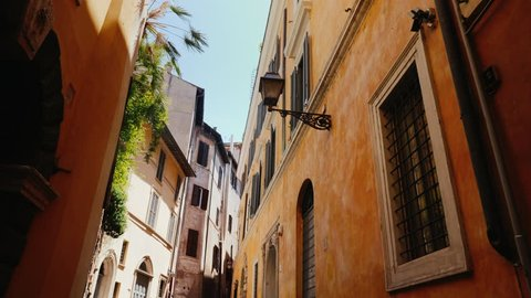 Beautiful narrow street in the old part of Rome, Italy. Medieval buildings covered with ivy. Steadicam shot