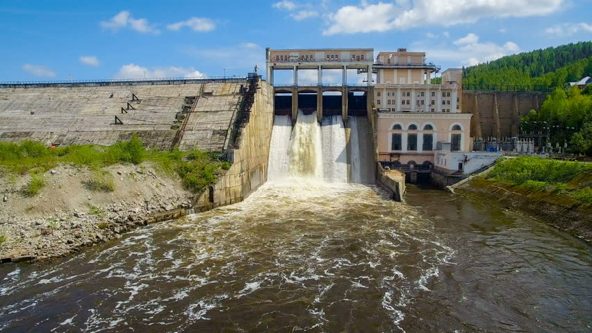 Turbulent water flow from an old hydroelectric power station aerial view #28906300