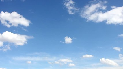 Cumulus Cloud Billows Time Lapse, Seamless, Beautiful white cloudscape soar across the screen, fashion over a deep blue background. FHD.