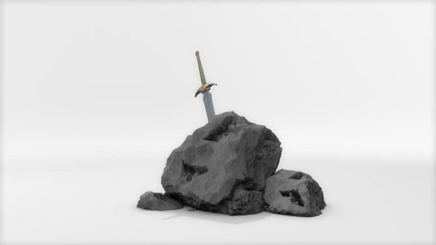 Computer generated, Medieval stone sword.