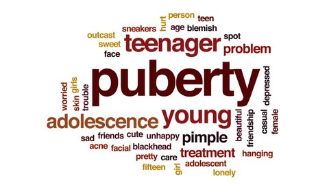 Puberty animated word cloud, text design animation.