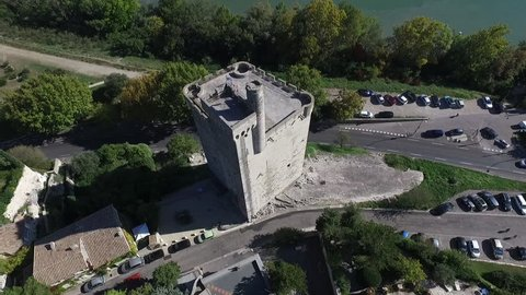VILLENEUVE LES AVIGNON FRANCE NOV 2016 - AERIAL VIEW  OF THE PHILIPPE LE BEL TOWER. SUMMER IN PROVENCE.