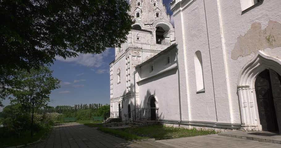 4K Medieval beautiful Pereslavl-Zalesskiy Svyato-Troicki Danilov monastery, churches, cathedrals and area around it