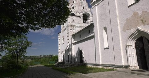 4K Medieval beautiful Pereslavl-Zalesskiy Svyato-Troicki Danilov monastery, churches, cathedrals and area around it