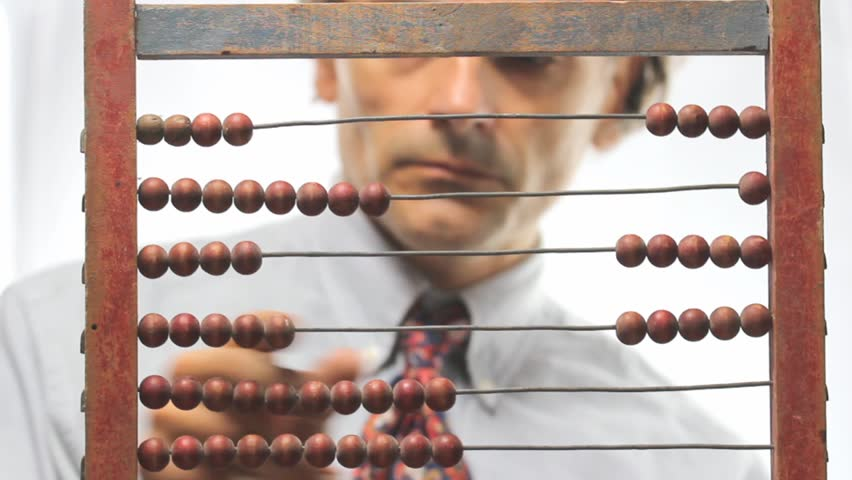 accountant with abacus over white background