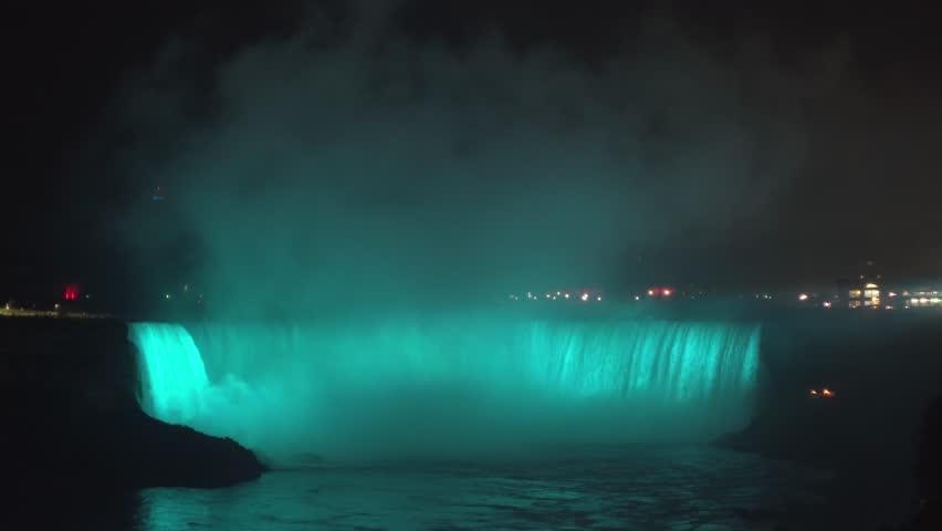 Colorful Niagara Falls at night