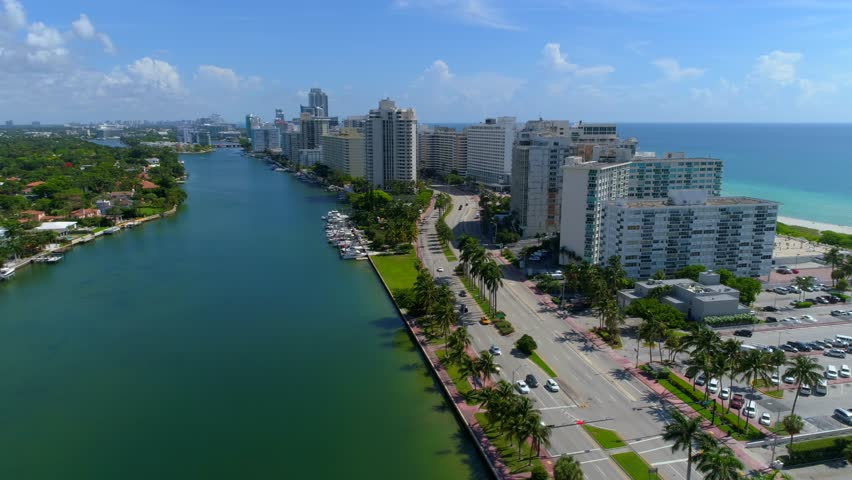 Aerial video Miami Beach reveal ocean 4k 24p