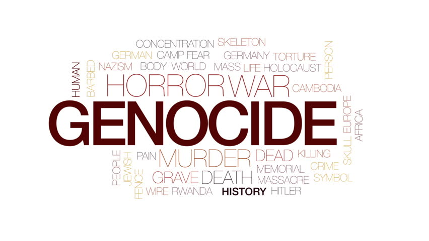 Genocide animated word cloud, text design animation. Kinetic typography.