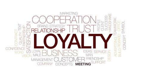 Loyalty animated word cloud, text design animation. Kinetic typography.