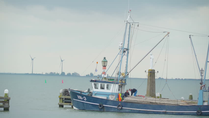 Volendam Netherland May 02 2017: The big viking boat in the lake of Volendam. Volendam is a Dutch town on the Markermeer Lake northeast of Amsterdam.