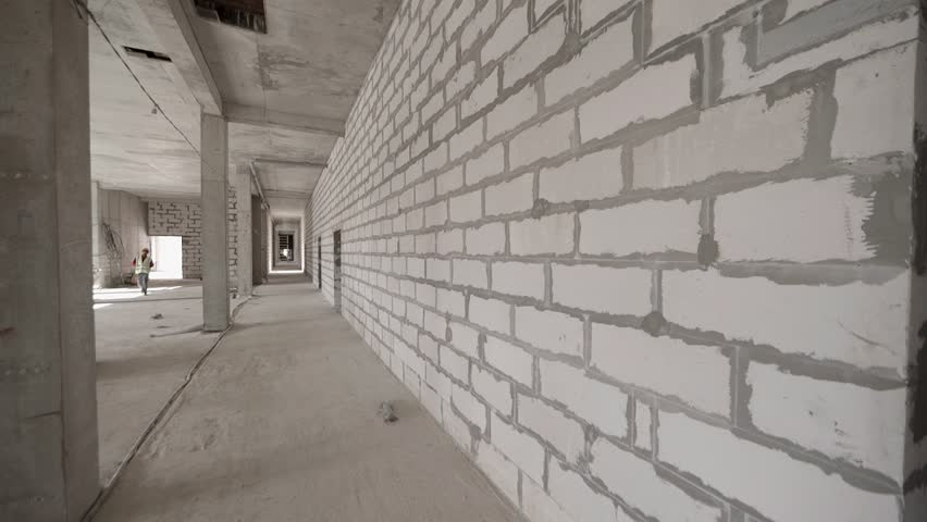 white brick wall hd building building construction site interior empty view stock footage