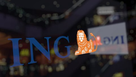 ING Group logo on the glass against blurred business center. Editorial 3D rendering