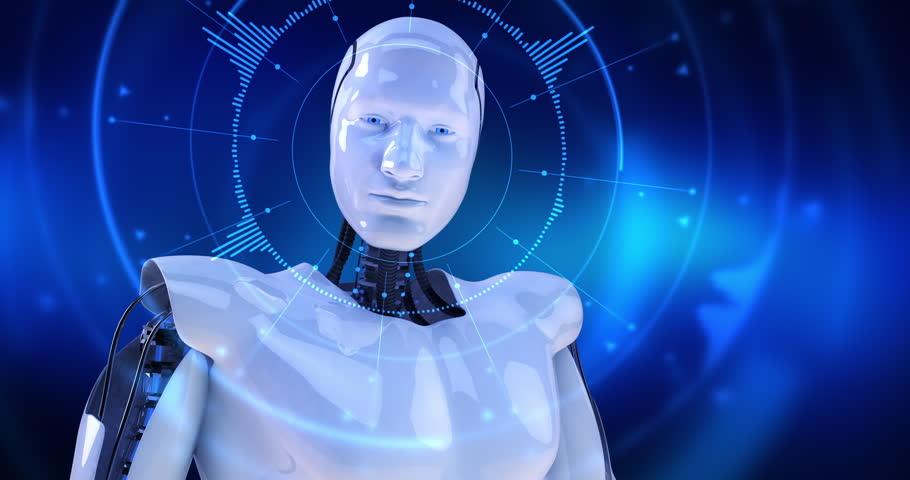 Humanoid male robot turning slowly and digital hud activating slowly. 4K+ 3D digital animation.