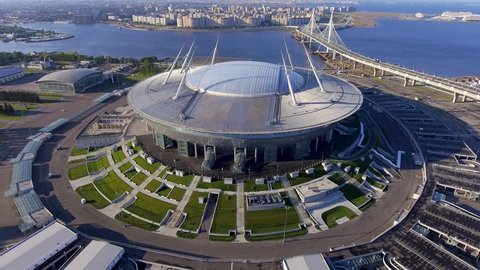 Russia, Saint-Petersburg, 23 July 2017: Aerial view of the stadium Zenit Arena, most expensively in the world, the FIFA World Cup in 2018, stadium roof, sunny day, morning, nobody, confederation cup