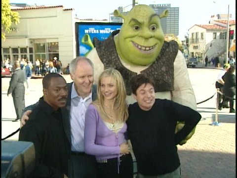 Los Angeles, CA - APRIL 22, 2001: Eddie Murphy, John Lithgow, Cameron Diaz, Mike Myers, walks the red carpet at the Shrek Premiere held at the Mann Village Theatre