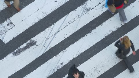 NEW YORK CITY - NOVEMBER 2016: Top view of pedestrian crossing intersection of West 34th Street and 5th Ave in New York City, USA.
