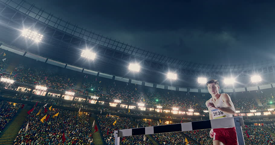 Track and field runner on the professional sports arena with bleaches full of people. Athlete wears unbranded clothes. Arena and people on it are made in 3D.