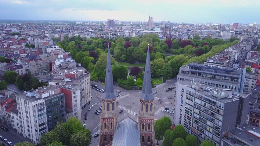 Church in Belgium, Antwerpen. Aerial footage drone 4k | Shutterstock HD Video #29279494
