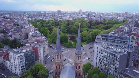 Church in Belgium, Antwerpen. Aerial footage drone 4k