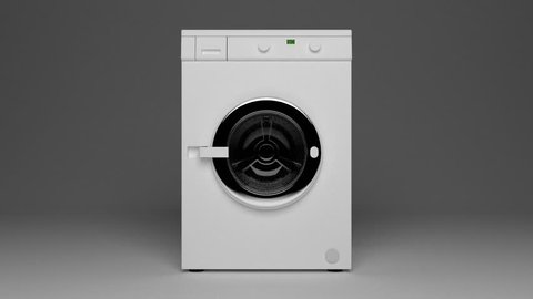 Camera goes into a domestic washing machine with open door ready to receive dirty clothes.