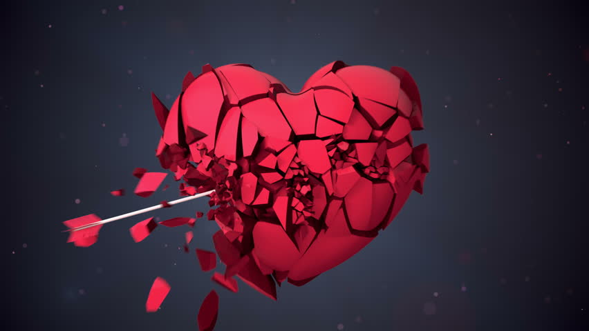 Broken Heart Hit by Cupid Arrow Shattered Into Pieces
