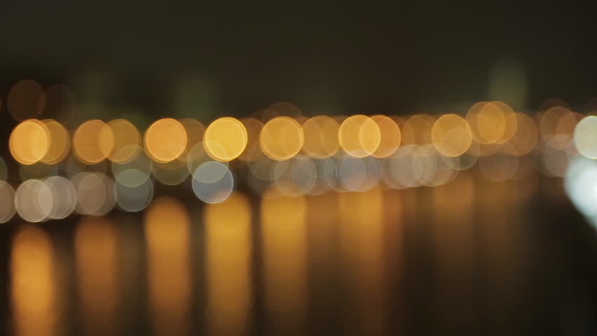 night view on the Kremlin embankment. Moscow, Russia,  bokeh
