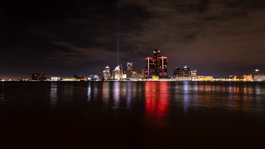 Timelapse of Detroit Downtown at Night