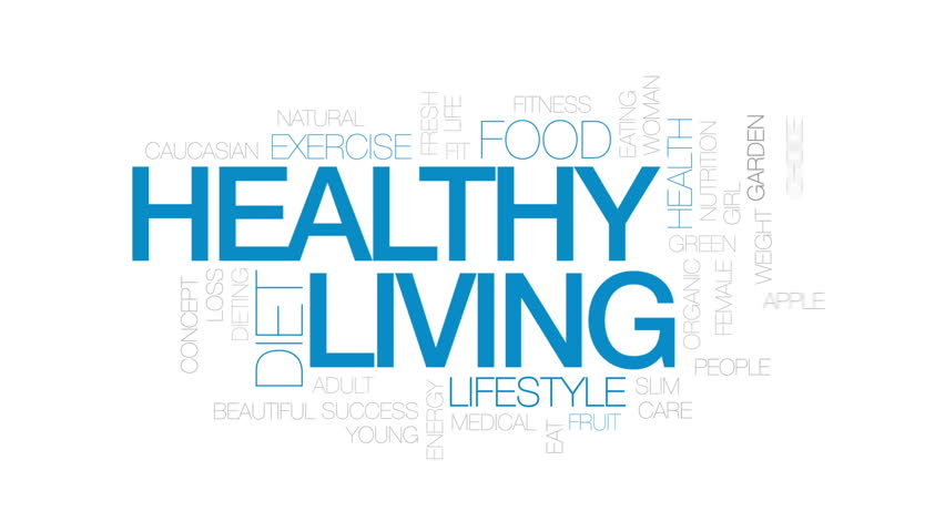 Healthy living animated word cloud, text design animation. Kinetic typography.