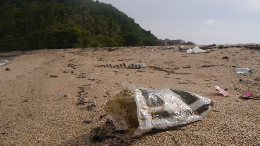 plastic bag on a beach at the island koh phangang