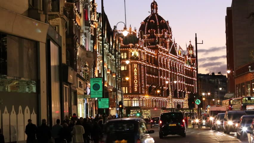 LONDON - DEC 28 : Night View of Harrods with christmas decoration on Dec 28, 2016, London, UK. This department store was opened at 1824 and now it is one of the most famous luxury store in London.
