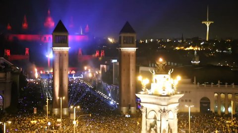 New Year celebrations with city lights at Placa Espana in Barcelona