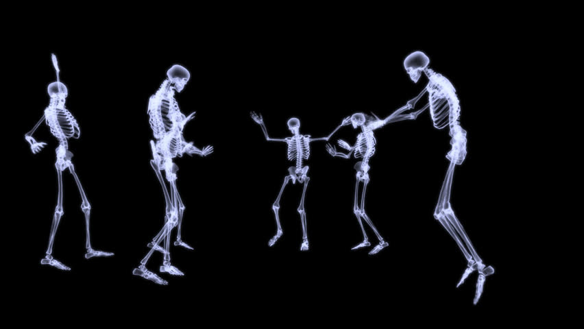 xray of 2 human skeleton fighting in a sword combat. 3d rendering, Skeleton