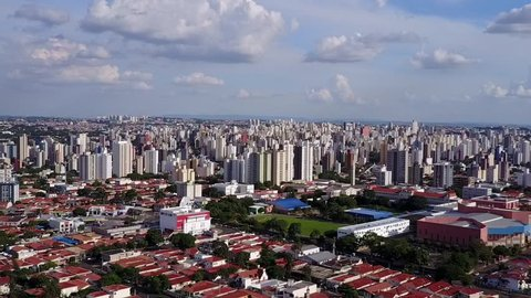 Dolly aerial shot of downtown Campinas - SP Brazil
