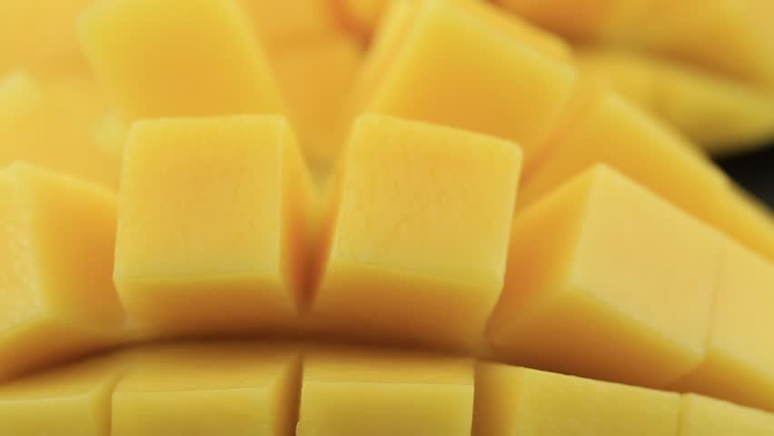 Fresh thai yellow mango background, rotates, close up