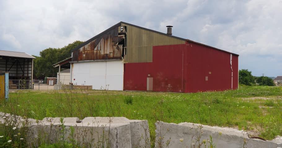 Old abandoned factory or warehouse in a small New England town.