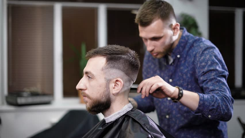 Young Barber Standing And Making Stock Footage Video 100 Royalty