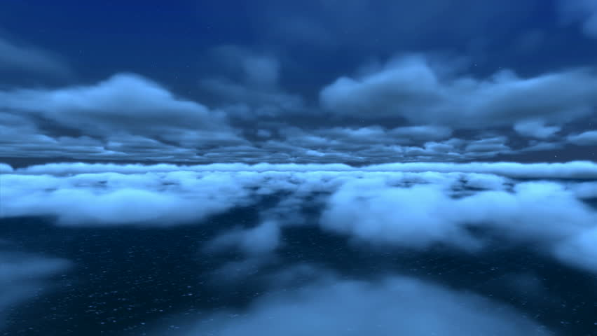 A majestic view flying over the ocean, through clouds, on a starry, moon lit
